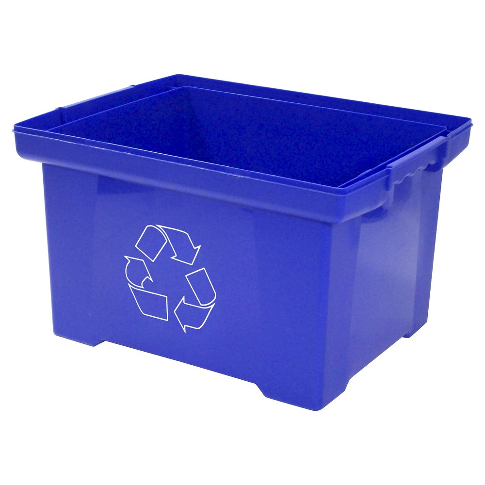 Image of Storex XL Recycling Bin, 10 Gallon - Blue