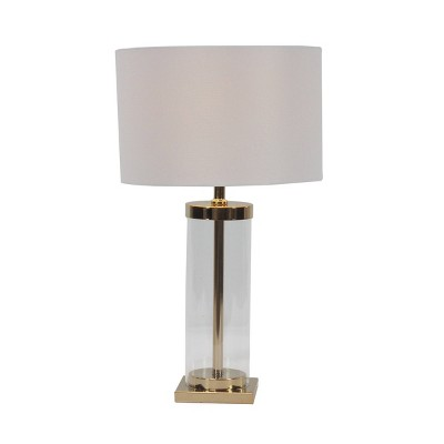 """14"""" x 25"""" Contemporary Large Cylinder Metal and Glass Table Lamp Gold/White - CosmoLiving by Cosmopolitan"""