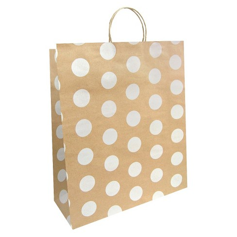 Large Solid Natural with White Polka Dots Gift Bag - Spritz™ - image 1 of 2