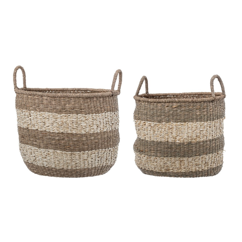 2pc Striped Natural Seagrass Baskets with Handles Brown - 3R Studios