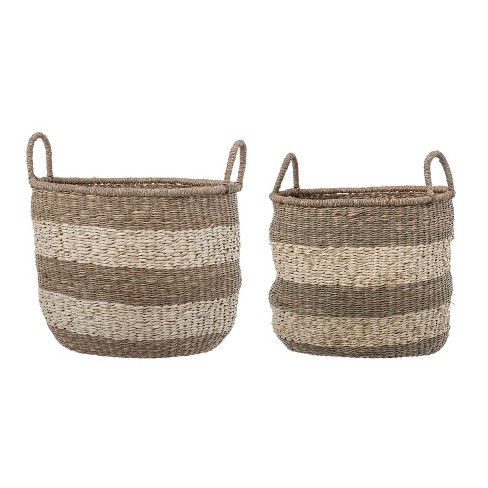 2pc Striped Natural Seagrass Baskets with Handles Brown - 3R Studios - image 1 of 1