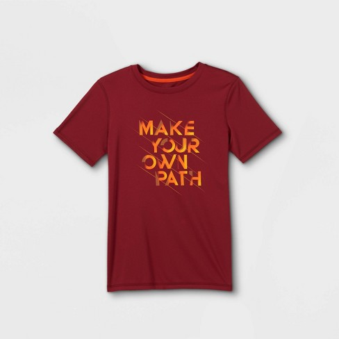 Boys' Short Sleeve 'Make Your Own Path' Graphic T-Shirt - All in Motion™ Red - image 1 of 2