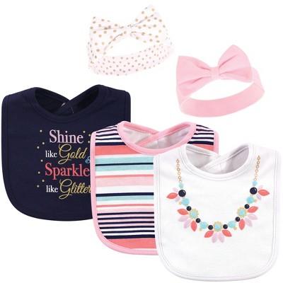 Little Treasure Baby Girl Cotton Bib and Headband Set 5pk, Sparkle Necklace, One Size