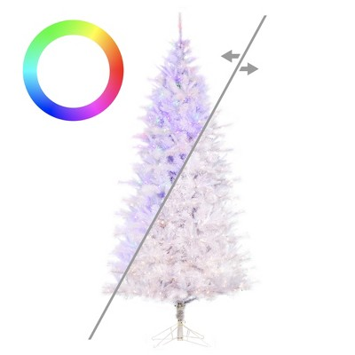 "Vickerman 7.5' x 46"" White Cashmere Slim Artificial Christmas Tree, RGB Color Changing Low Voltage LED Lights"