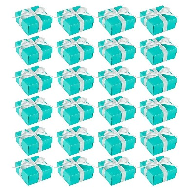 Blue Panda Wedding Gift Boxes - 24 Pack Candy Favor Boxes, DIY Assembly Small Treat Boxes, Turquoise, 3.7 x 3.7 x 1.6 Inches