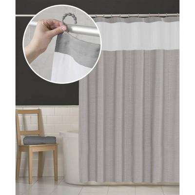 Smart Shower Curtains Hendrix View Fabric With Attached Hooks Gray - Maytex