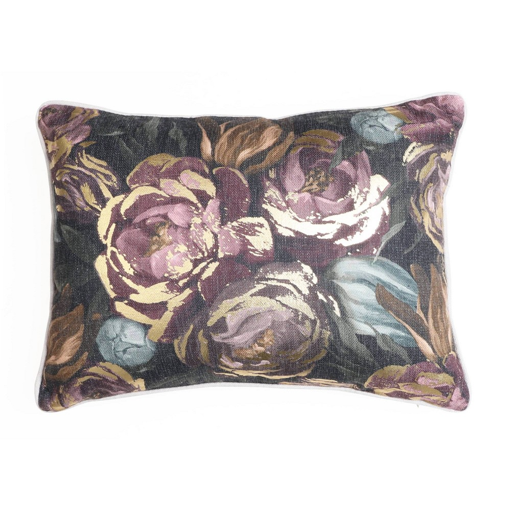 """Image of """"14""""""""x18"""""""" Abigale Floral Foil Printed Pillow Black/Gold - Décor Therapy"""""""