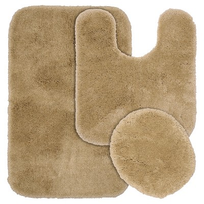 Garland 3 Piece Finest Luxury Ultra Plush Washable Nylon Bath Rug Set - Taupe