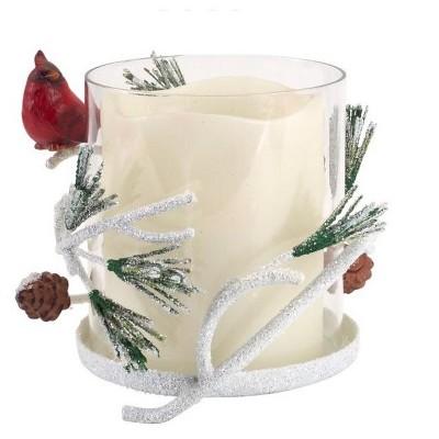 "Melrose 6"" Glass and Ceramic Cardinal Bird on Pine Branch Christmas Pillar Candle Holder"