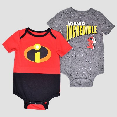 Disney Baby Boys' 2pk Incredibles Short Sleeve Bodysuit - Gray/Red Newborn