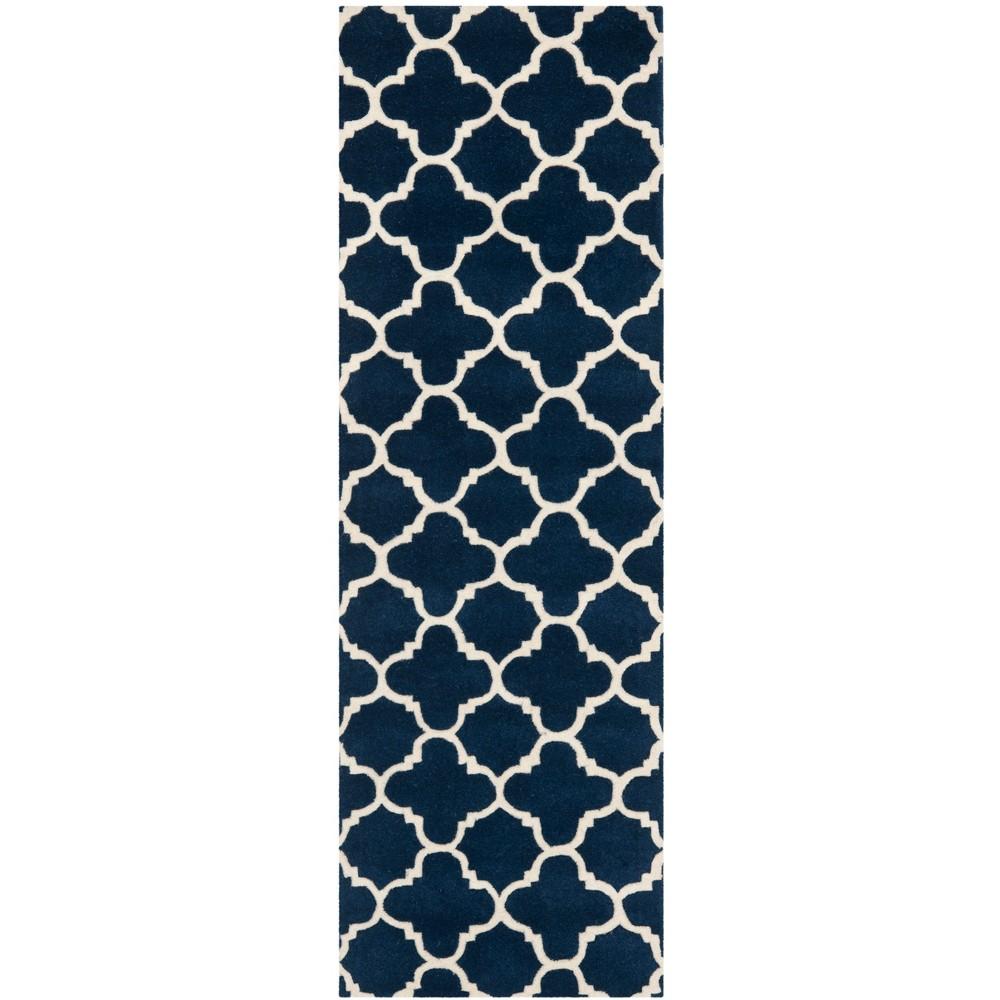 Tufted Quatrefoil Design Area Rug Dark Blue