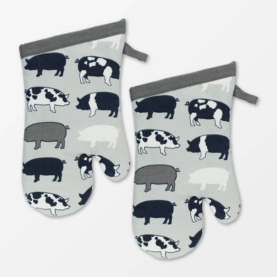 Set of 2 Designer Pigs Print Oven Mitt - MU Kitchen