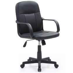 Mid Back Adjustable Height Office Chair in Black PU Leather - Hodedah
