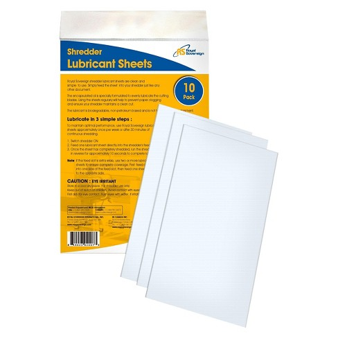 "Royal Sovereign Shredder Lubricated Sheets, 10"" (H) x 6.3 (W) 10pk RS-SLS - image 1 of 2"