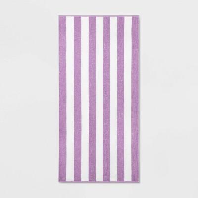 Cabana Striped Beach Towel Purple - Sun Squad™