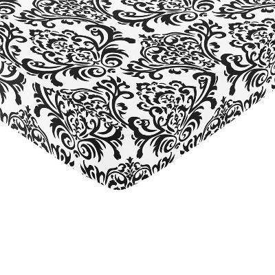 Sweet Jojo Designs Fitted Crib Sheet - Isabella Black & White - Damask Print