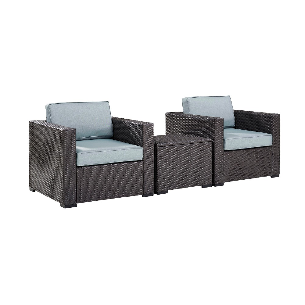 Biscayne 3pc All-Weather Wicker Seating Set - Mist (Blue) - Crosley