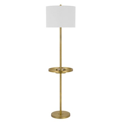 """62"""" Crofton Metal Floor Lamp with USB Ports and Drum Shade Antique Brass - Cal Lighting"""