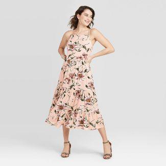 Women's Floral Print Sleeveless Lace-Up Back Tiered Dress - Xhilaration™ Pink XS