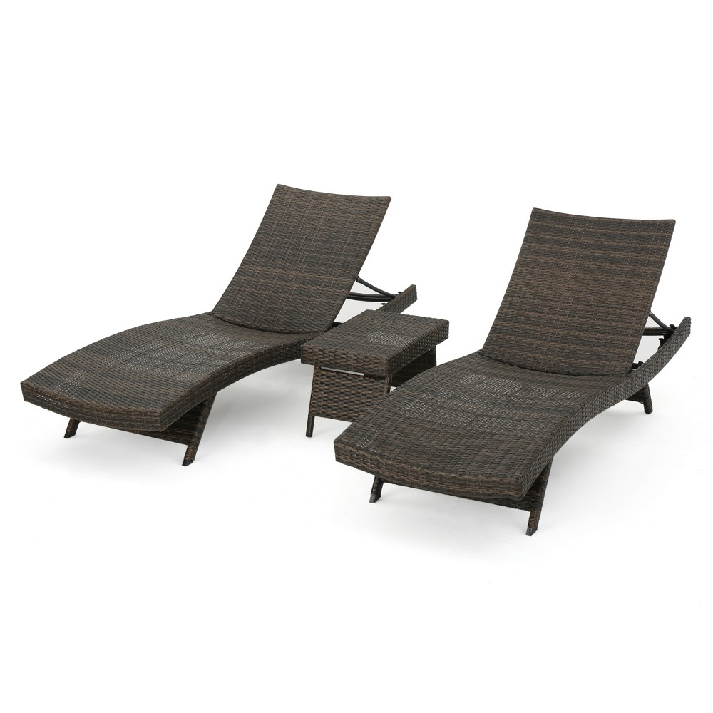 Salem 3pc Wicker Patio Adjustable Chaise Lounge Set - Mocha (Brown) - Christopher Knight Home