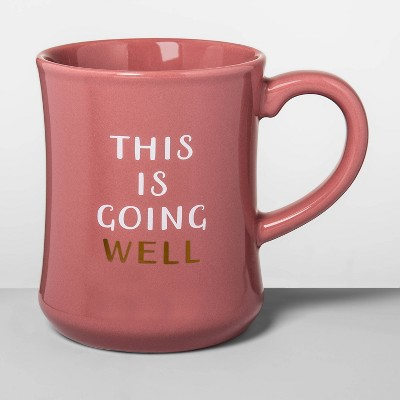 15oz Stoneware Going Well Diner Mug Pink - Opalhouse™