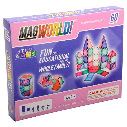 MagWorld Toys Pastel 3D Magnetic Building Tiles - 60 Piece - image 1 of 10