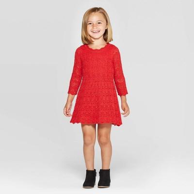 Toddler Girls' Crochet Dress - Cat & Jack™ Red 12M