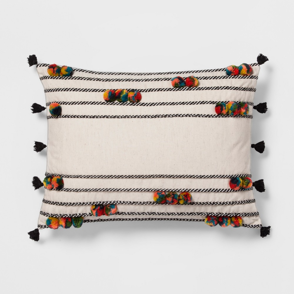 Pom-Pom Lumbar Pillow - Opalhouse, Multi-Colored