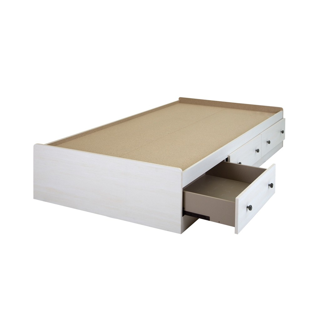 Country Poetry Mates Bed with 3 Drawers - Twin - White Wash - South Shore