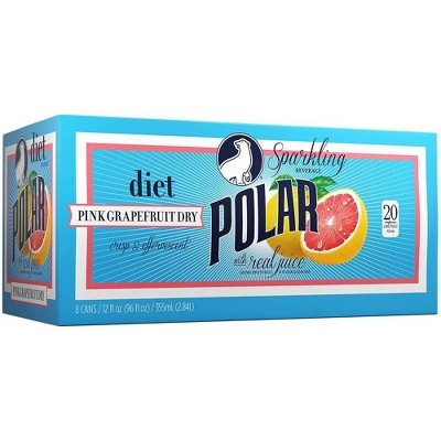 Polar Diet Grapefruit Dry Sparkling Beverage - 8pk/12 fl oz Cans