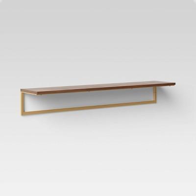 36  x 7  Wood & Metal Shelf Walnut/Gold - Project 62™