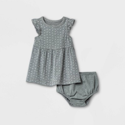 Baby Girls' Dot Ruffle Sleeve Dress with Panty - Cat & Jack™ Gray