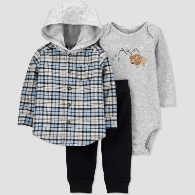 Baby Boys' 3pc Buffalo Plaid Hooded Top & Bottom Set - Just One You® made by carter's Blue 12M