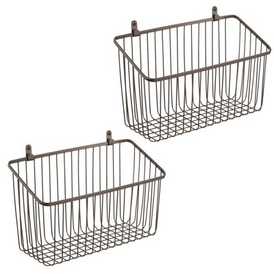 mDesign Metal Wall Mount Hanging Basket for Home Storage, 2 Pack