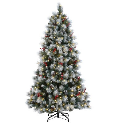 7.5ft National Tree Company Full Snowy Glacier Pine Hinged Tree with Cones & Red Berries 550 Dual Color Twinkle LED