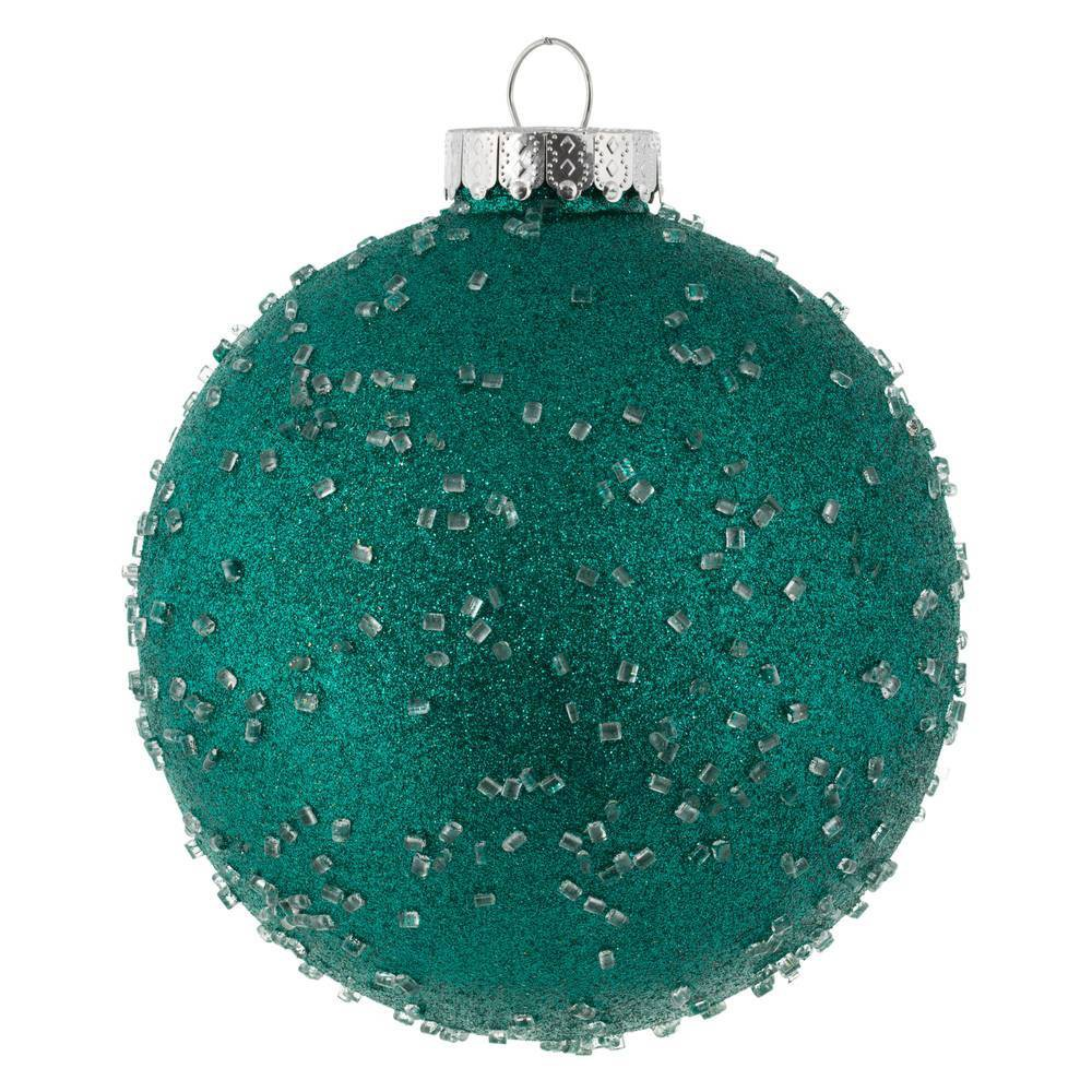 """Image of """"4ct Vickerman 6"""""""" Ornament Ball Teal Ice"""""""