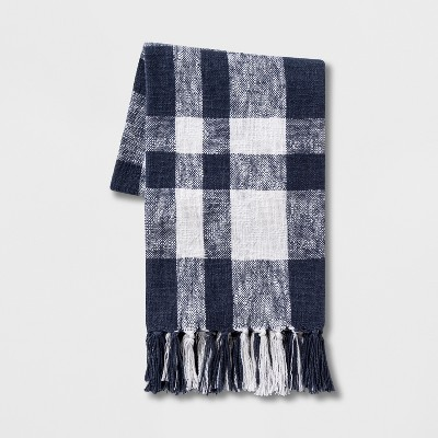 Plaid Cotton Throw Blanket Blue/White - Threshold™