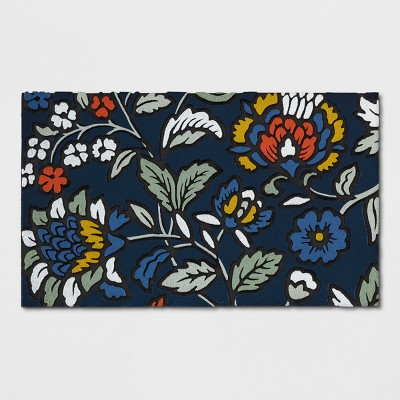 Navy Floral Doormat 1'6 X2'6  - Threshold™