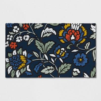 Navy Floral Doormat 1'6 X2'6  - Threshold™