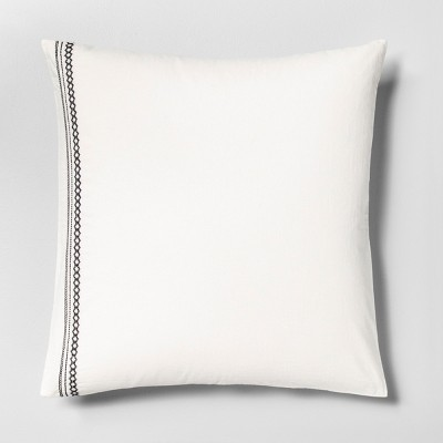 Euro Pillow Sham Embroidered Tonal Railroad Gray - Hearth & Hand™ with Magnolia