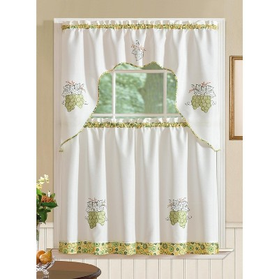 Ramallah Trading Grand Grapes Embroidered Kitchen Curtain - 60 x 36, White