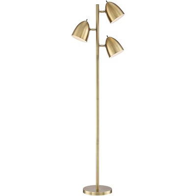 360 Lighting Mid Century Modern Floor Lamp Aged Brass 3-Light Tree Adjustable Dome Shades for Living Room Reading Bedroom Office