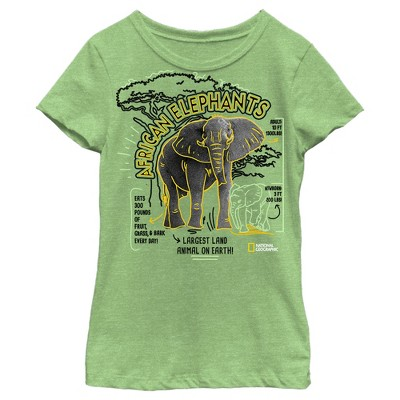 Girl's National Geographic African Elephant Facts Doodle T-Shirt
