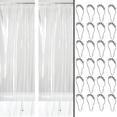 mDesign Waterproof PEVA Shower Curtain Liner, 3 Gauge - Clear/Chrome