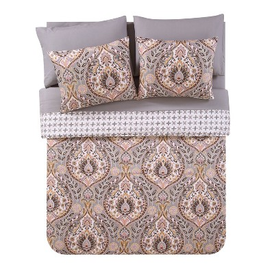 Queen Brynn Bed in a Bag Print Comforter Set Gray/Gold - VCNY HOME