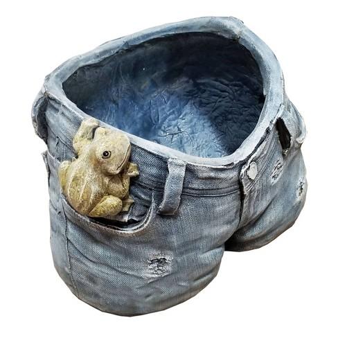 Short Rugged Jeans Flower Planter With Pocket Frog Design - Alpine Corporation - image 1 of 3