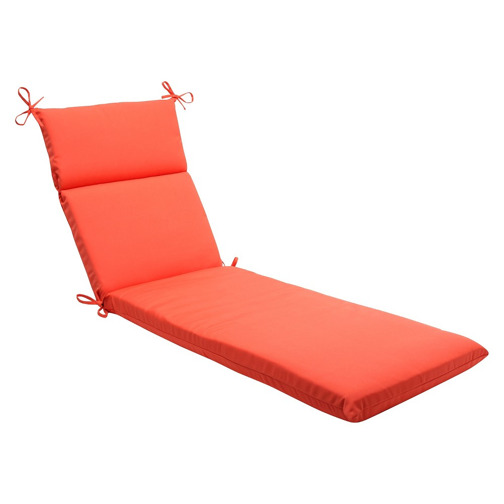 Sunbrella Canvas Outdoor Chaise Lounge Cushion - Orange, Melon Ball