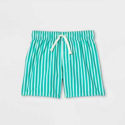 Toddler Boys' Pin Striped Swim Shorts - Cat & Jack™ Green