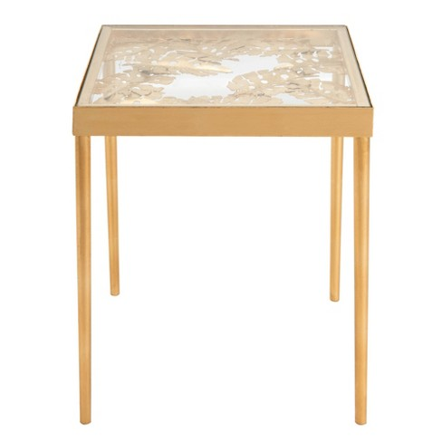 Leilani Palm Leaf Side Table Gold Safavieh