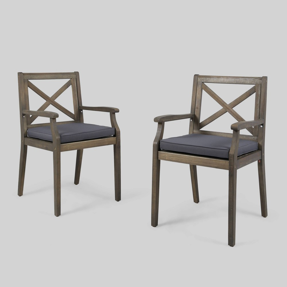 Perla 2pk Acacia Wood Patio Dining Chair - Gray/Blue - Christopher Knight Home
